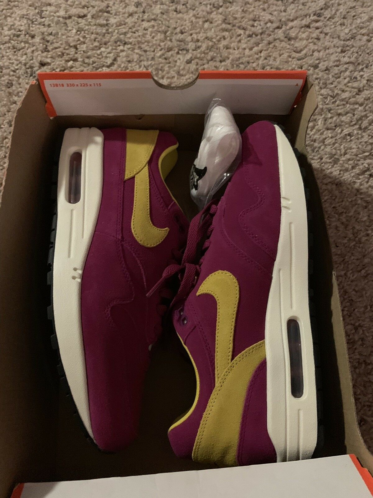 Nike Air Max 1 Premium 30th Anniversary Dynamic Berry Purple 875844-500 Size 9