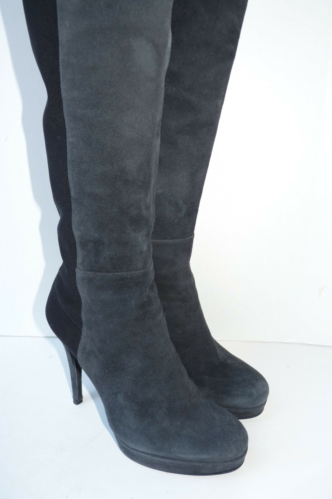Stuart Weitzman Skyline Platform Grey Black Suede Women's Boots Size US 7.5