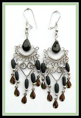 Ohrringe schwarz Glasstein Chandelier Schmuck Ohrhänger Creolen Gypsy Damen NEU!