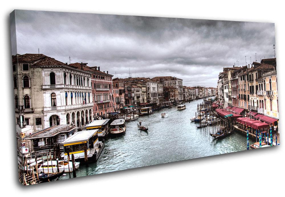 Venice Canal Scene  Gondola City SINGLE TOILE murale ART Photo Print