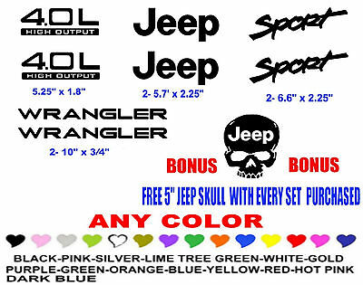 Jeep Wrangler Sport 4.0 high output STICKERS DECALS KIT YJ TJ #222