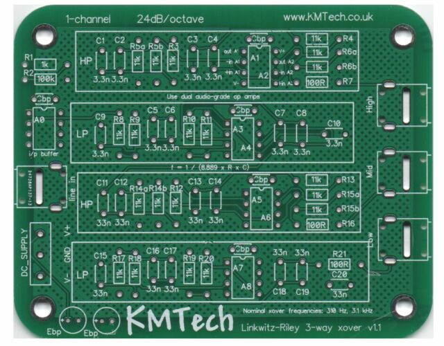 KMTech Filtro Activo Linkwitz-Riley 3-vías PCB DIY V1.1