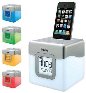 ihome ip18w color changing 30 pin ipod iphone alarm clock speaker dock ebay. Black Bedroom Furniture Sets. Home Design Ideas