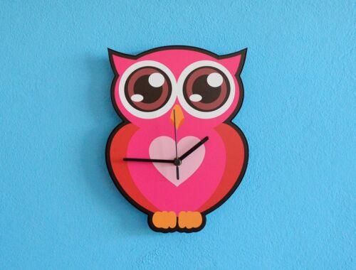 Pink Owl Cartoon Wall Clock