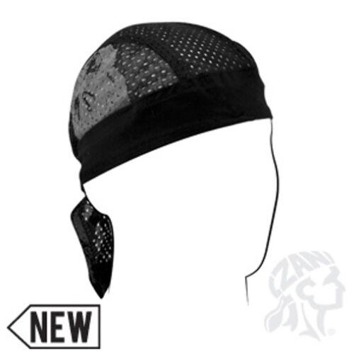 Black Reflective Silver Skull Vented Sweatband Biker Durag Headwrap Free Shippin