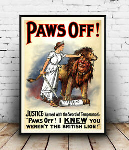 Paws-off-Vintage-political-advert-poster-Wall-art-poster-reproduction