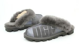 ec9285f77e4 UGG COQUETTE UGG SPARKLE SHEEPSKIN SLIPPERS CHARCOAL GREY WOMENS ...