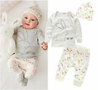 Baby Kinder Bekleidung 3 Tlg Hase Tiere Mädchen Junge Shirt Hose 74 / 80