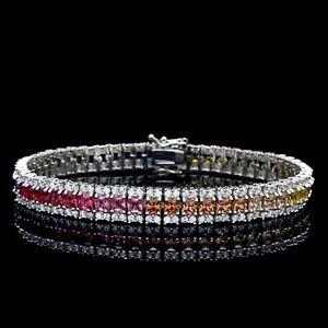 15tcw-Princess-Multi-Gemstone-Tennis-Rainbow-Bracelet-925-Sterling-Silver-8mm
