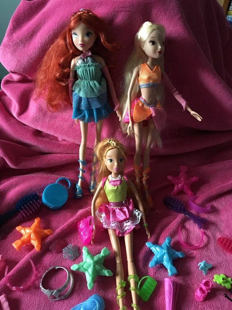 Jakks Pacific Bundle Of 3 winx dolls & accessories only ever displayed