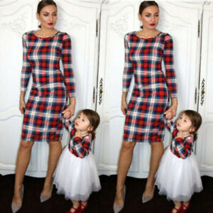 Family-Matching-Outfits-Mother-Daughter-Baby-Dresses-Lace-Dress-Clothes-Fall-UK