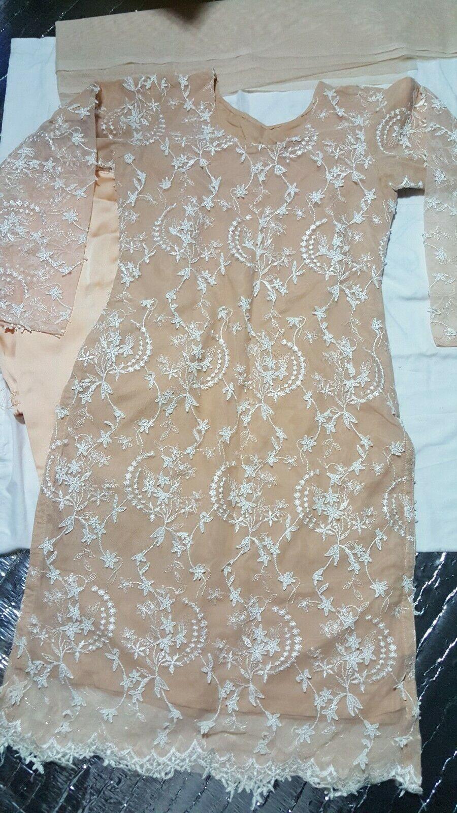 Indian Pakistani designer net fabric thread embroidery shalwar kameez size S