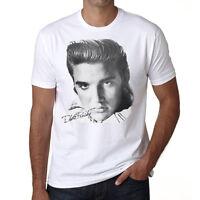 Elvis Presley Star T Shirt Homme, Manches Courtes, Coton Blanc Cadeau