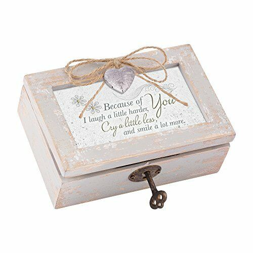 Because of You Distress Wood Locket Music Box Plays That/'s What Friends are For