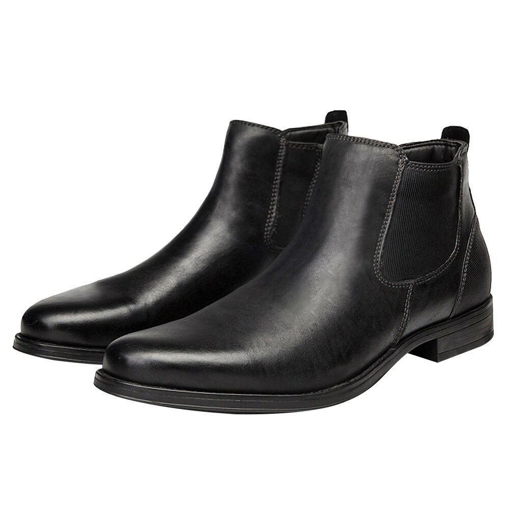 Men's Chelsea Boots Real Leather High Top Classic Work Shoes Ankle Beatle Bootie