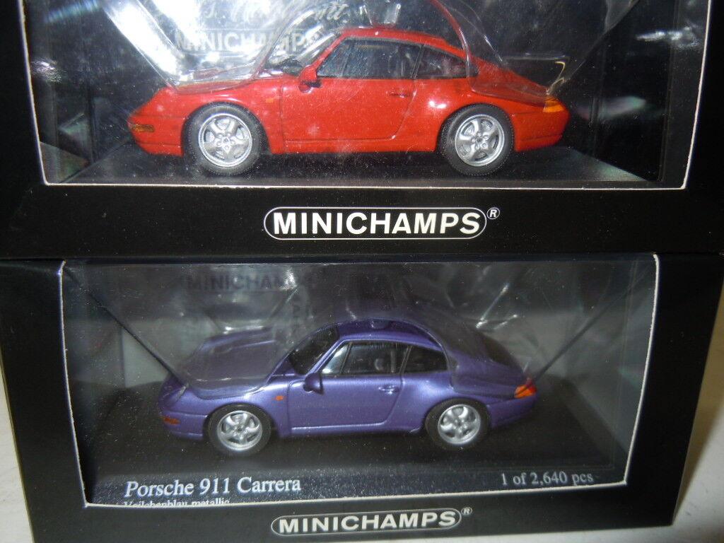 2 RARE PORSCHE 911 (993) Modèles De Minichamps Dans 1:43 neuf dans sa boîte | Avec Une Réputation De Longue Date