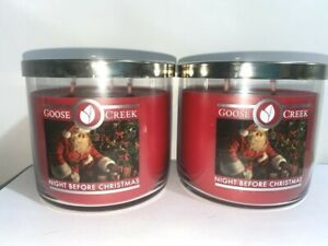 ☆NIGHT BEFORE CHRISTMAS ☆SET OF 2 GOOSE CREEK CANDLE JARS 14.5 OZ.☆FREE SHIPPING