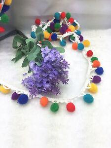 1-10yd-Ball-Rainbow-Pom-Pom-Bobble-Trim-Braid-Fringe-Ribbon-Craft-Decor