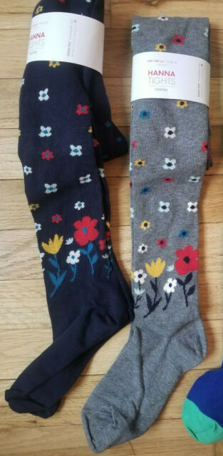 b14b0aeaf618e NWT HANNA ANDERSSON FLORAL NAVY BLUE / GRAY PITTER PATTER TIGHTS 130 140 8  10