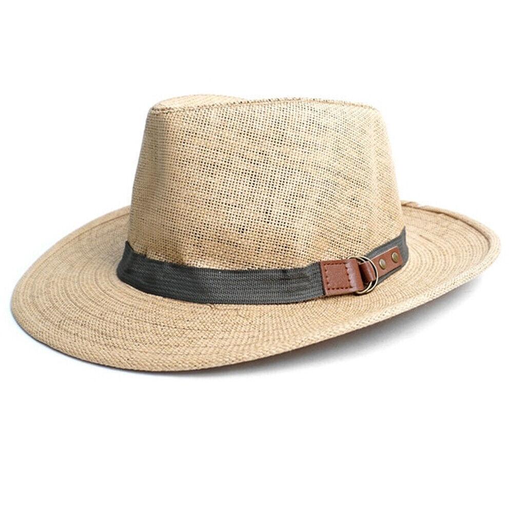1 Herren Damen Klassisch Breite Krempe Sommer Fedora Kappe Hut Stroh Panama Tan