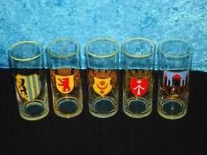 DDR-Bier-Glas-Stadtwappen-Leipzig-Berlin-Halle-Meinigen-Stralsund-Sammeln