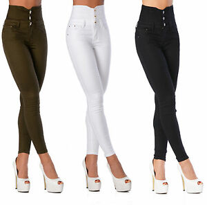 Sexy-Women-039-s-Stretchy-Jeans-Trousers-High-Waisted-Skinny-Slim-H-111