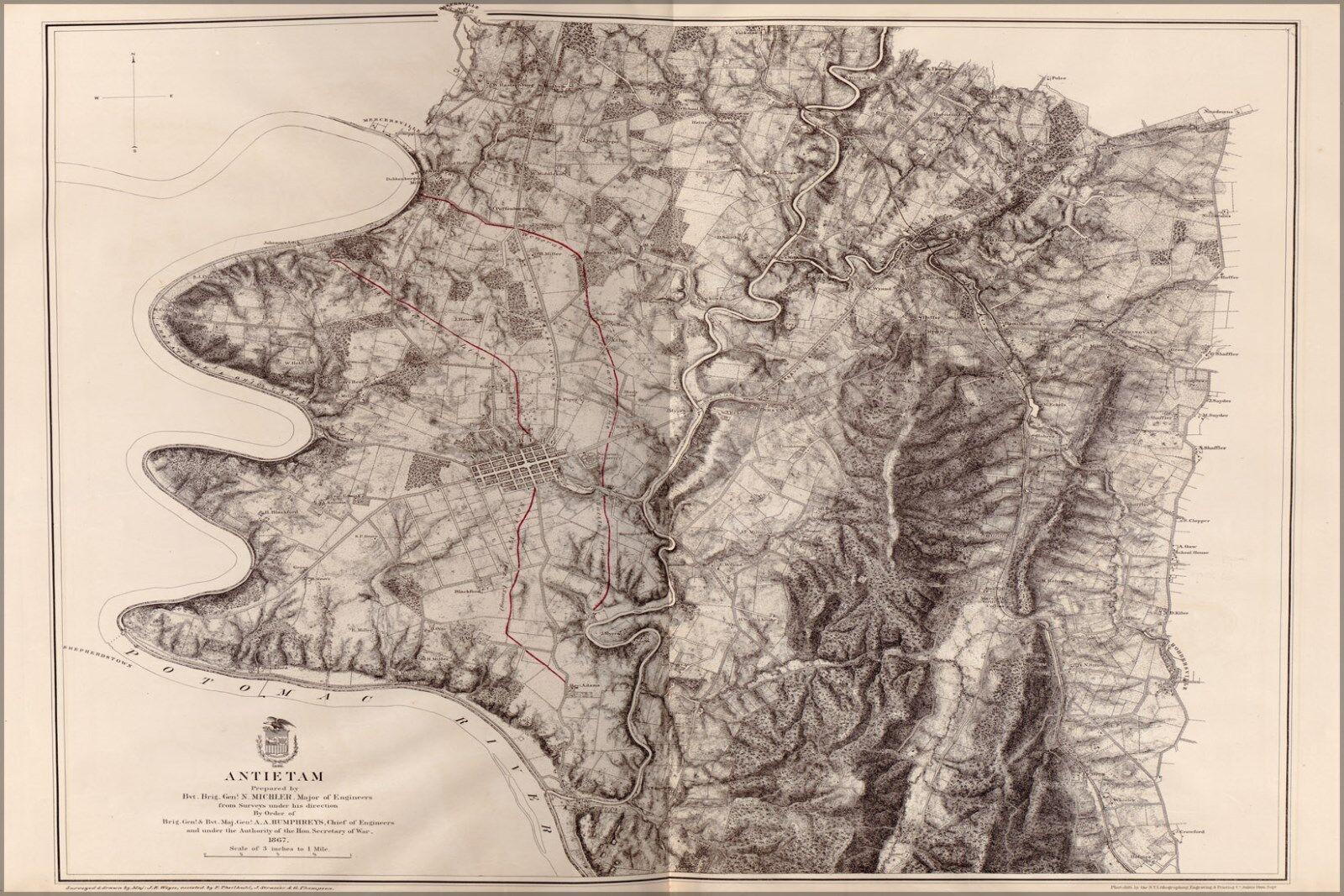 Plakat, Viele Größen; Karte von Antietam, Maryland 1867