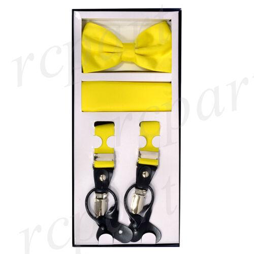 New Men/'s Convertible skinny Elastic Strap Suspender/_Bowtie Hankie Yellow