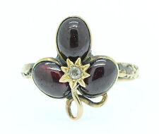A Red Three Leaf Clover Design Garnet & Rose Diamond Ring Circa 1800's