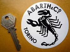 Abarth & Co Torino Antiguos De Estilo Clásico Blanco Y Negro Scorpion 75mm pegatina redonda