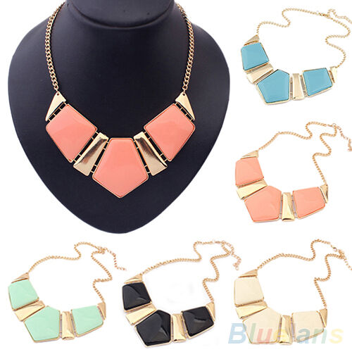 Beauteous Gems Vintage Bib Statement Necklace Chain Nobby Collar Party B58U