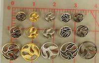 48 Metal Shank Buttons Filigree Paisley Design 5 Colors 3 Sizes 1/2 To 7/8
