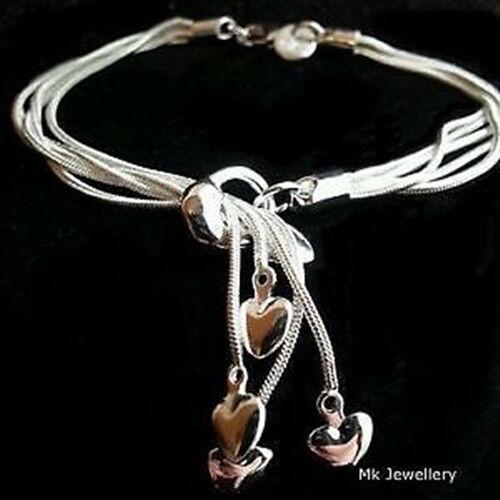 925Bag Good Gift FREE P/&P wholesale bronze SILVER Womens Bracelet//bangle lady