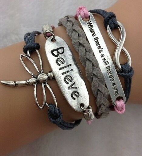 NEW Hot Retro Infinity Dragonfly Believe Leather Charm Bracelet plated Silver !!