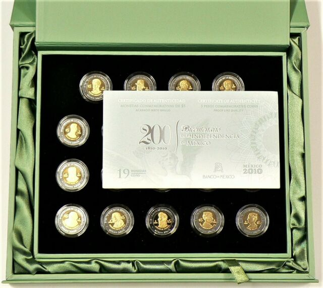 Mexico $5 Pesos ProofLike Set 200 Years Revolution 1810 2010 #10319