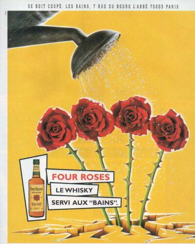 """Publicité Advertising 1999  WHISKY FOUR ROSES servi aux /""""bains/"""" Paris  BOURBON"""
