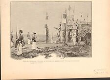 Thanh Thai Emperor Vietnam Temple Gocong  FRANCE GRAVURE ANTIQUE OLD PRINT 1898