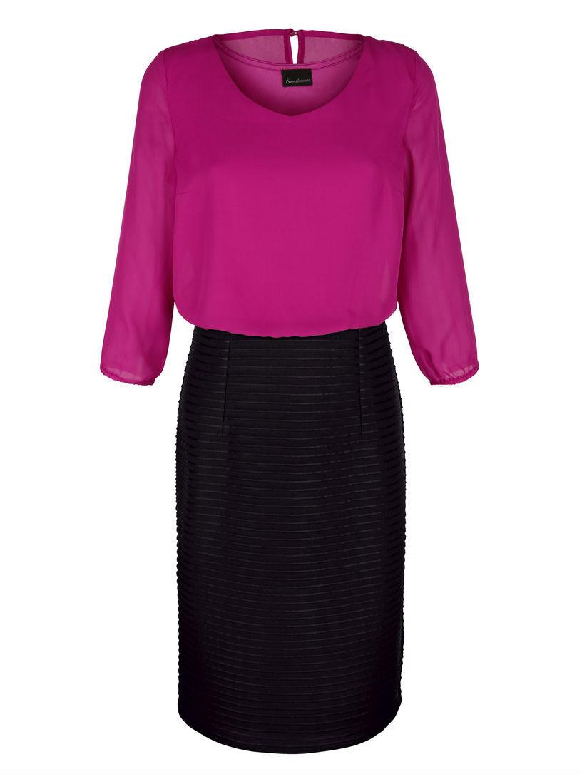 KO Kleid Abendkleid Festkleid Ballkleid schwarz-fuchsia GR. 50 52 54  NEU