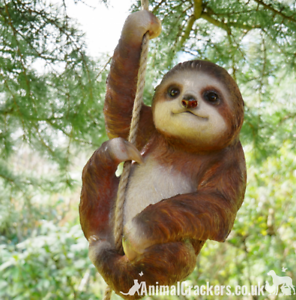 Large-Climbing-Sloth-swinging-on-rope-tree-garden-sculpture-ornament-decoration