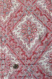 "Antique c1810-20 French Faded Cotton Frame Fabric~Indigo & Turkey Red~35""X33"""