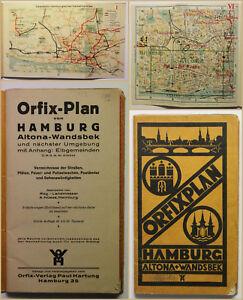 ORIG-folleto-orfix-plan-de-Hamburgo-Altona-Wandsbek-1900-ortskunde-geografia-SF