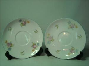 TWO-Shelley-FLORAL-ROSE-amp-BLUEBELL-5-6-034-14-25cm-SAUCERS