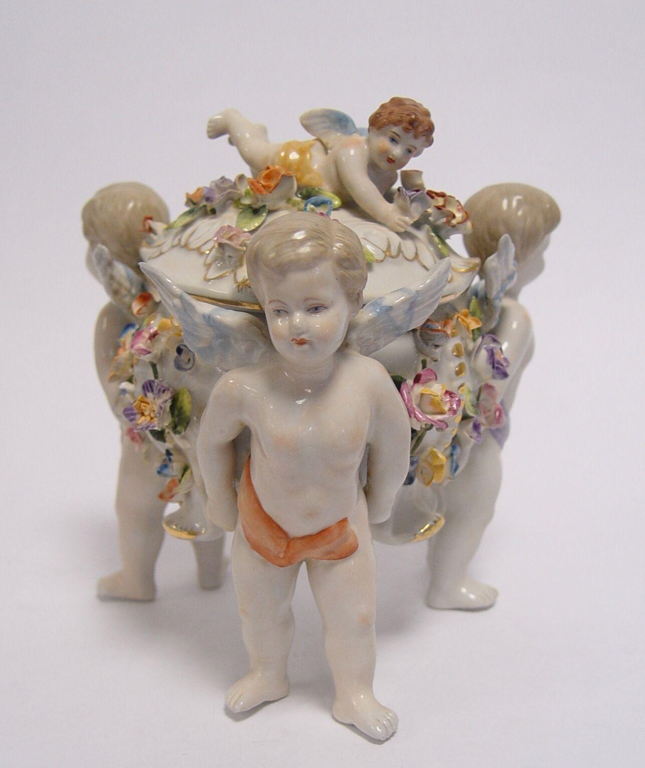 Porcelana tapa cáscara cáscara con tapa lata figuras grupo ángel personaje Ángel