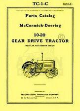 FARMALL McCormick Deering 10-20 Parts Catalog Manual