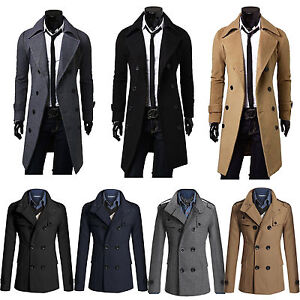 Mens Long Trench Coat Jacket Double Breasted Outwear Overcoat ...