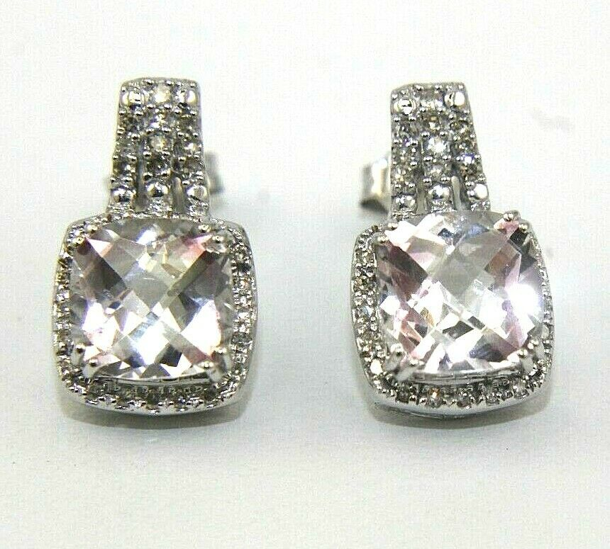 Cushion Cut Pink Topaz & Diamond Lady's Drop Stud Earrings 14k White gold 5.15Ct