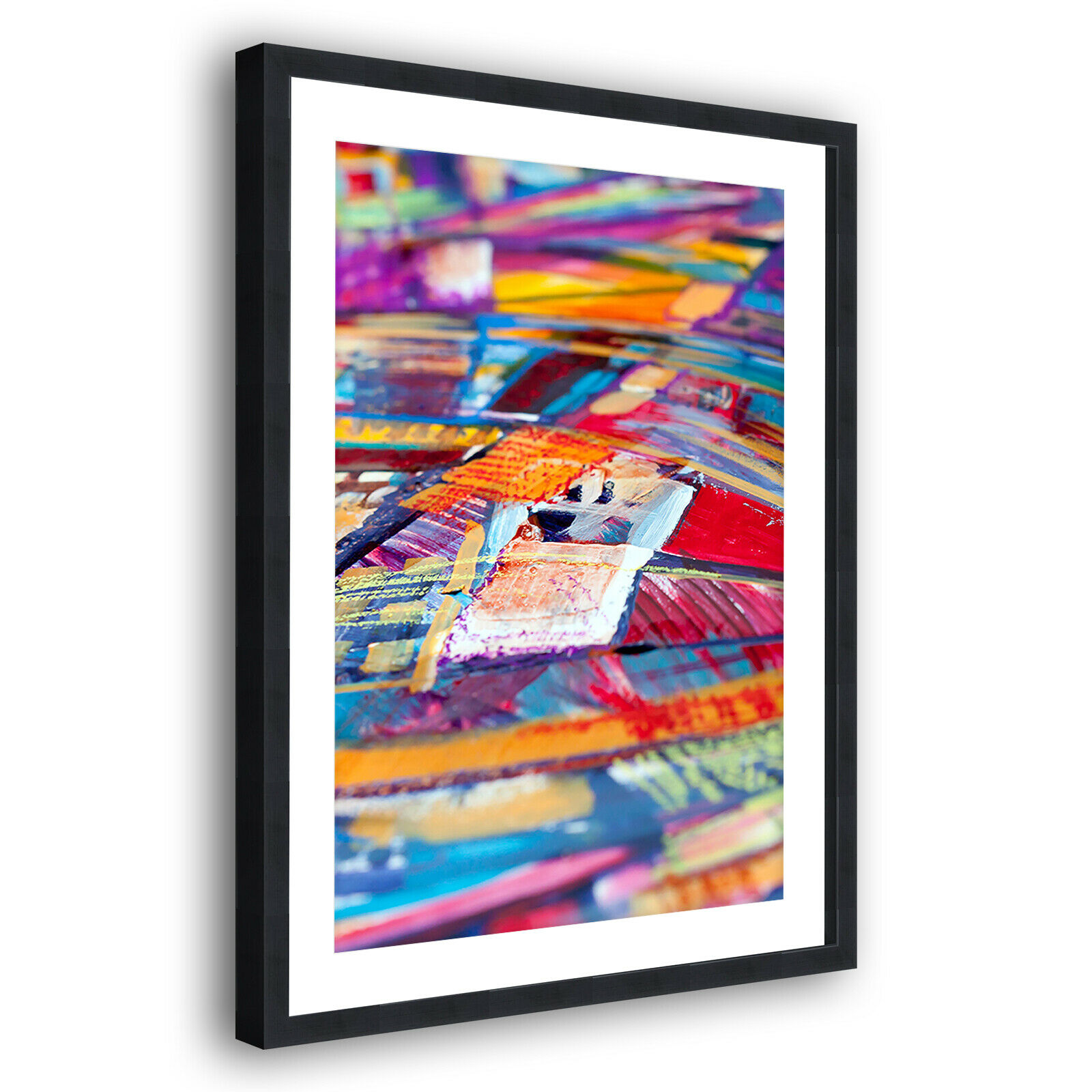 Colourful Orange Blau Modern Portrait Abstract Framed Wall Art Picture Print