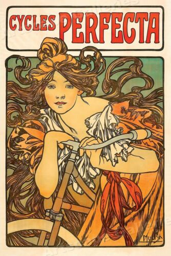 """16x24 1897 /""""Cycles Perfecta/"""" Alphonse Mucha Vintage Style Bicycle Poster"""