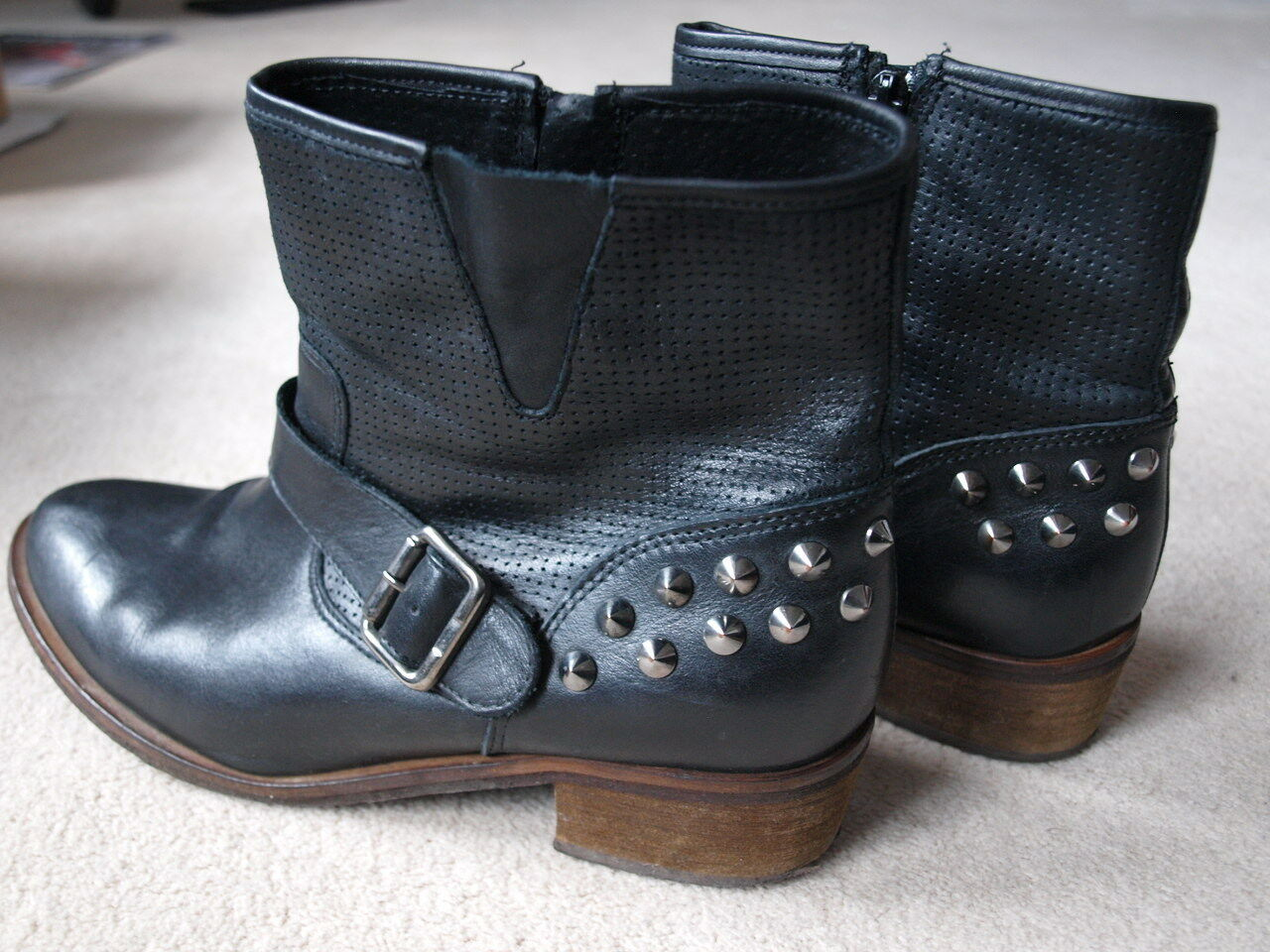 Bertie Black Leather Studded Ankle Boots Size 6 in VGC