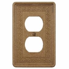 Wall Switch Plate Cover Double Outlet Greek Key Design Stone in Noce Travertine